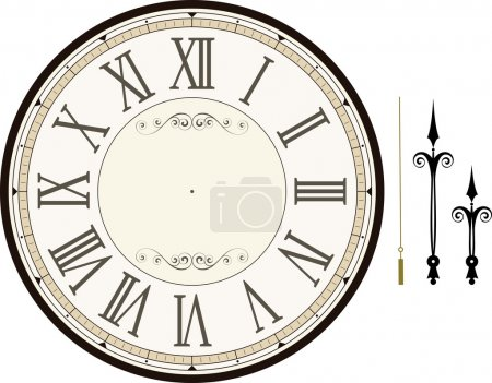 Illustration for Vintage clock face template with hour, minute and second hands to make your own time isolated on white background - Royalty Free Image