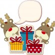 Two baby reindeer and gift boxes with blank text b...