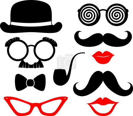 Illustration for Set of mustaches, lips and eyeglasses silhouettes and design elements for party props isolated on white background - Royalty Free Image