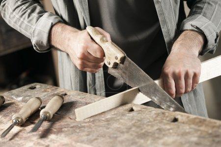 Carpenter hand's close up
