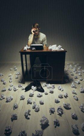 Vintage writer feeling fatigued begins to nod off