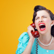 Vintage Woman shouting into telephone...