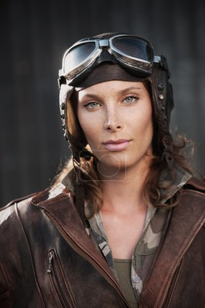 Female aviator: fashion model portrait