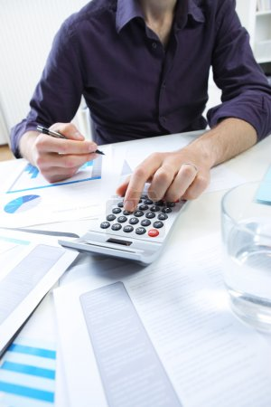 business man analyzing financial data