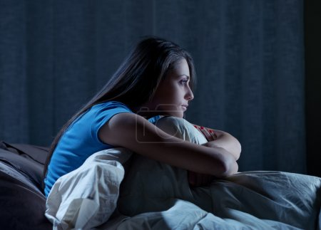 Photo for Portrait of a young woman suffering from insomnia - Royalty Free Image