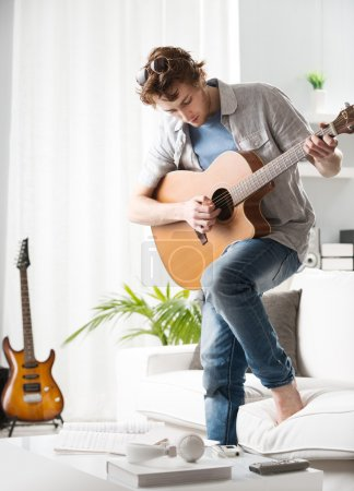 Songwriter composing a song