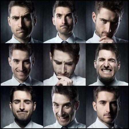 Photo pour Portraits d'un jeune homme d'affaires. Diverses images dans un collage - image libre de droit