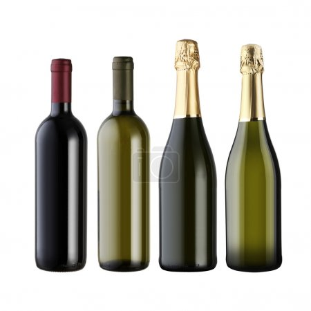 Photo for Set of wine bottles isolated on white background with blank copyspace. - Royalty Free Image