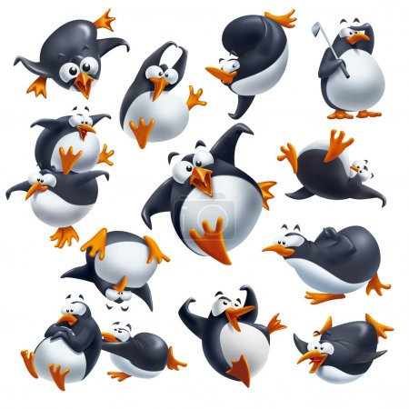 Set of cute funny penguins isolated on white with ...