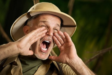 Adventurer shouting in the jungle