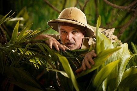 Photo pour Aventurier se cachant et regardant à travers les plantes dans la jungle de la forêt tropicale avec du matériel d'exploration . - image libre de droit