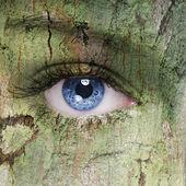 Holz Textur auf Woomans Gesicht