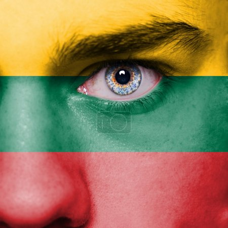 Lithuania flag painted on face