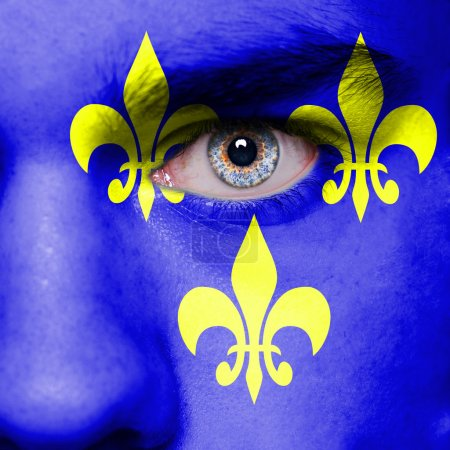 Medieval France flag painted on face