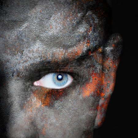 Old rusty metal plate pattern on man face
