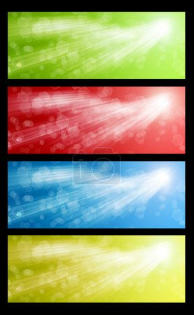 Photo for Colorful web banners set with bokeh bubbles and sunbeams - Royalty Free Image