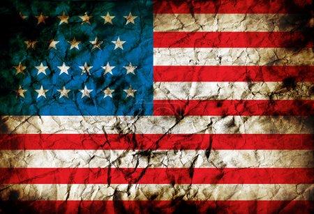 Photo pour Grunge usa drapeau fond sur vieux papier vintage - image libre de droit