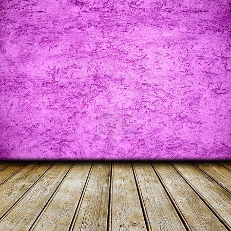 Photo pour Table à carreaux vide et mur rose - image libre de droit