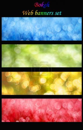 Photo for Colorful bokeh web banners set - 4 different labels - Royalty Free Image
