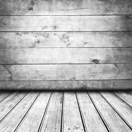 Photo pour Chambre vide avec parquet et mur, intérieur gris pour votre montage photo - image libre de droit
