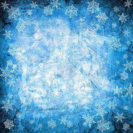 Photo pour Fond de Noël bleu avec flocons de neige - image libre de droit