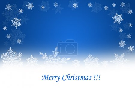 Photo for Blue christmas background with white snow flakes - Royalty Free Image
