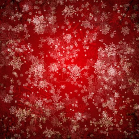 Photo for Red christmas background with white snow flakes - Royalty Free Image