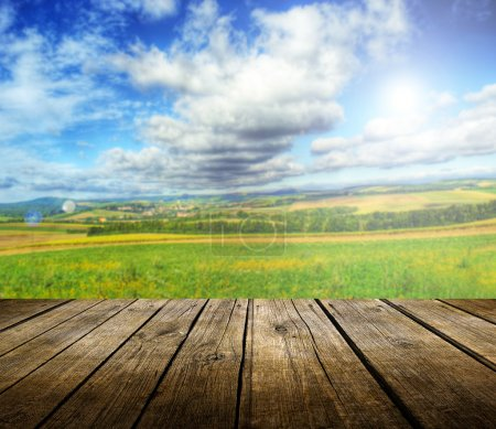 Empty wooden deck table with summer landscape in b...