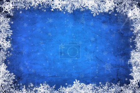 Photo for Blue christmas background with white snowflakes and stars - Royalty Free Image
