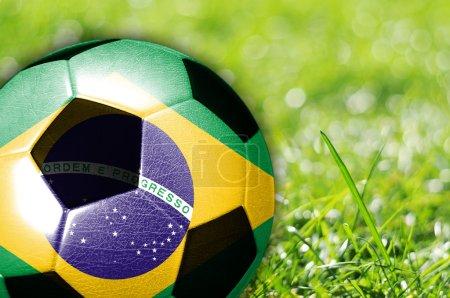 Soccer ball with flag of Brazil