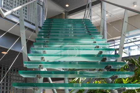 Photo for Glass stairway in a modern office building - Royalty Free Image