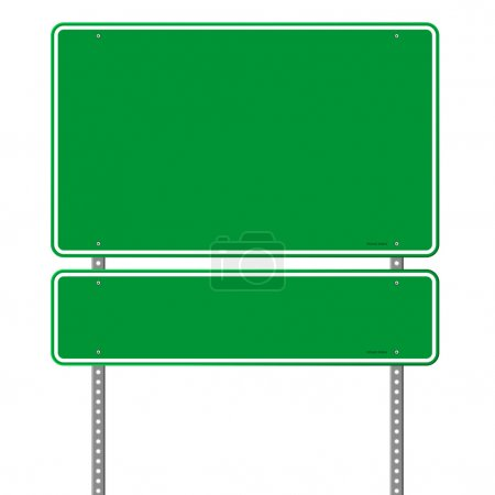 Illustration for Square roadsigns in green color tones isolated on white background - Royalty Free Image