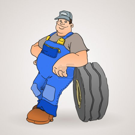 Car Mechanic with Tyre