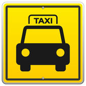 Illustration of Yellow Taxicab Roadsign with black car