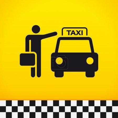 Illustration pour Passager en attente de taxi avec valise à la main - image libre de droit