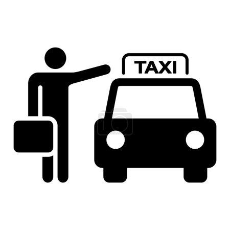 Illustration pour Illustration de voyage d'une cabine de taxi et de l'agitation des passagers - image libre de droit