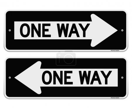 Illustration for Classic American Black Roadsign pointing Left and Right - Royalty Free Image