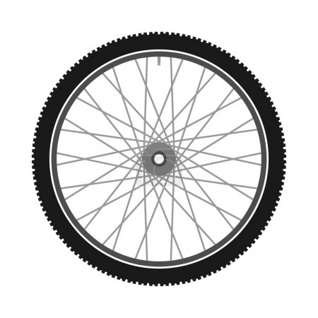 Bike part illustration with spokes and tire...