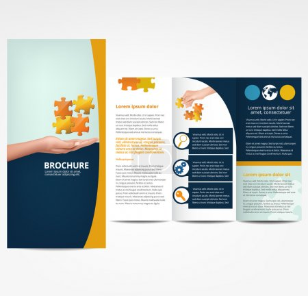 Illustration for Brochure with Puzzle, template - Royalty Free Image