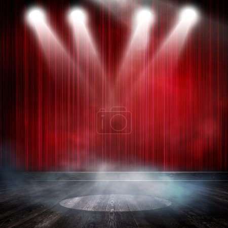 Photo for Red background in show. Interior shined with a projector - Royalty Free Image