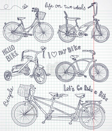 Illustration for Vintage bicycle set in the notebook - Royalty Free Image