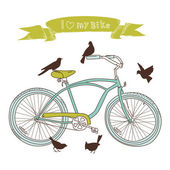 I heart my bike! A hand drawn bicycle and birds