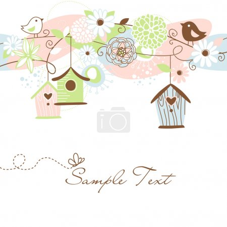 Beautiful Floral background with bird houses, birds and flowers