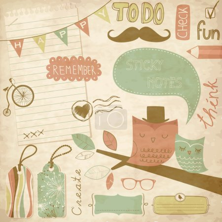Vintage scrapbook elements, sticky notes