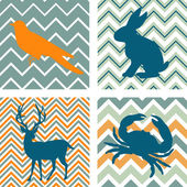 A set of 4 seamless retro patterns and 4 silhouettes of animals