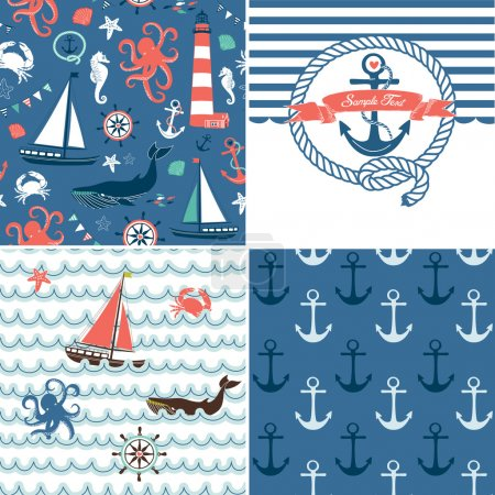 A set of 4 unique nautical backgrounds. Blue, Red and White seamless patterns
