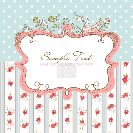 Illustration for Vector floral frame with a bird - Royalty Free Image
