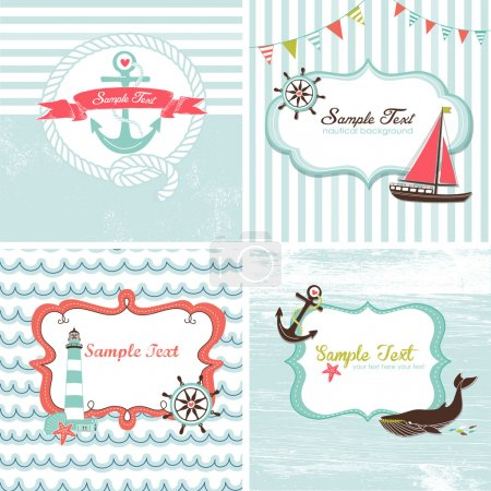 Photo for Set of 4 Nautical cards - Royalty Free Image