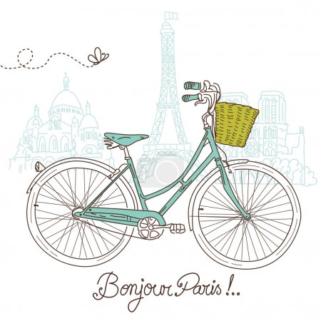 Illustration for Riding a bike in style, Romantic postcard from Paris - Royalty Free Image