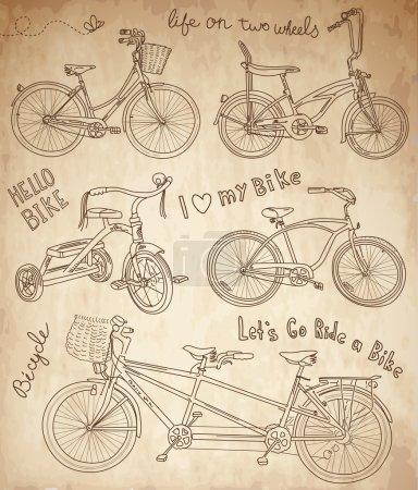 Illustration for Vintage bicycle set - Royalty Free Image